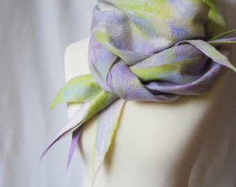 Gladiolus. Oversized soft pure wool scarf, one-of-a-kind woolen garment