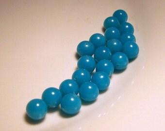 Vintage Aqua Opaque Glass Beads - 8mm - (20)