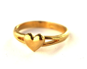Gold Plated Sterling Silver Heart Ring  //  Size 6
