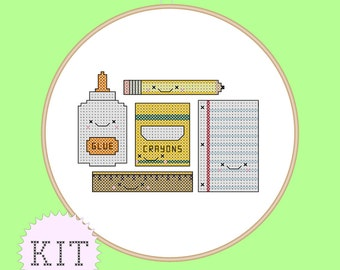Counted Cross Stitch KIT Cute School Supplies