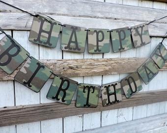 Camo Happy Birthday Banner, Masculine Birthday Banner, Camo Birthday, Military Birthday, Outdoors man's Birthday, Hunter's Decor