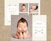 INSTANT DOWNLOAD - Custom Photo Birth Announcement Template - PSD - Template - Birth Announcement - Arrows