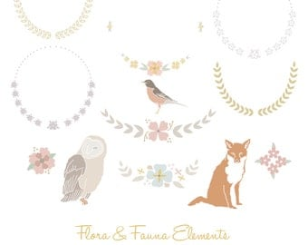 """INSTANT DOWNLOAD """"Flora & Fauna"""" - PNG Files - Digital Graphic Set - Photoshop - Photo Overlays"""