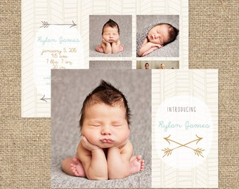 INSTANT DOWNLOAD - Custom Photo Birth Announcement Template - PSD - Template - Birth Announcement - Arrows