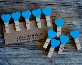 Mini Wooden Blue Heart Shape Pegs for Gift Packaging, Wedding Favours, Handmade Goods - Set of 10