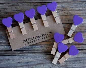 Mini Wooden Purple Heart Shape Pegs for Gift Packaging, Wedding Favours, Handmade Goods - Set of 10