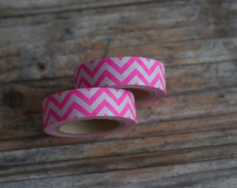 Japanese Washi Tape - Masking Tape Roll in Neon Pink and White Chevon Pattern