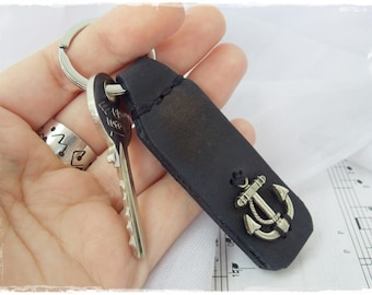 Anchor Leather Keychain, Nautical Leather Key-Chain, Navy Key-Chain, Rustic Leather Key Ring, Sailor's Key Fob, Men's Leather Keychain