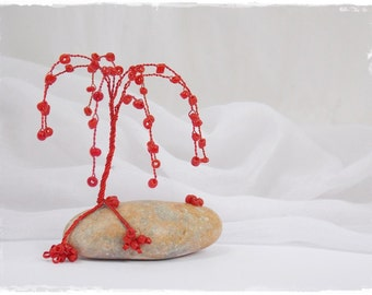 Weeping Willow Tree, Beaded Wire Tree Sculpture, Metal Tree Sculpture, Bonsai Wire Tree, Mini Red Tree Decor, Wire Wrap Tree Sculpture