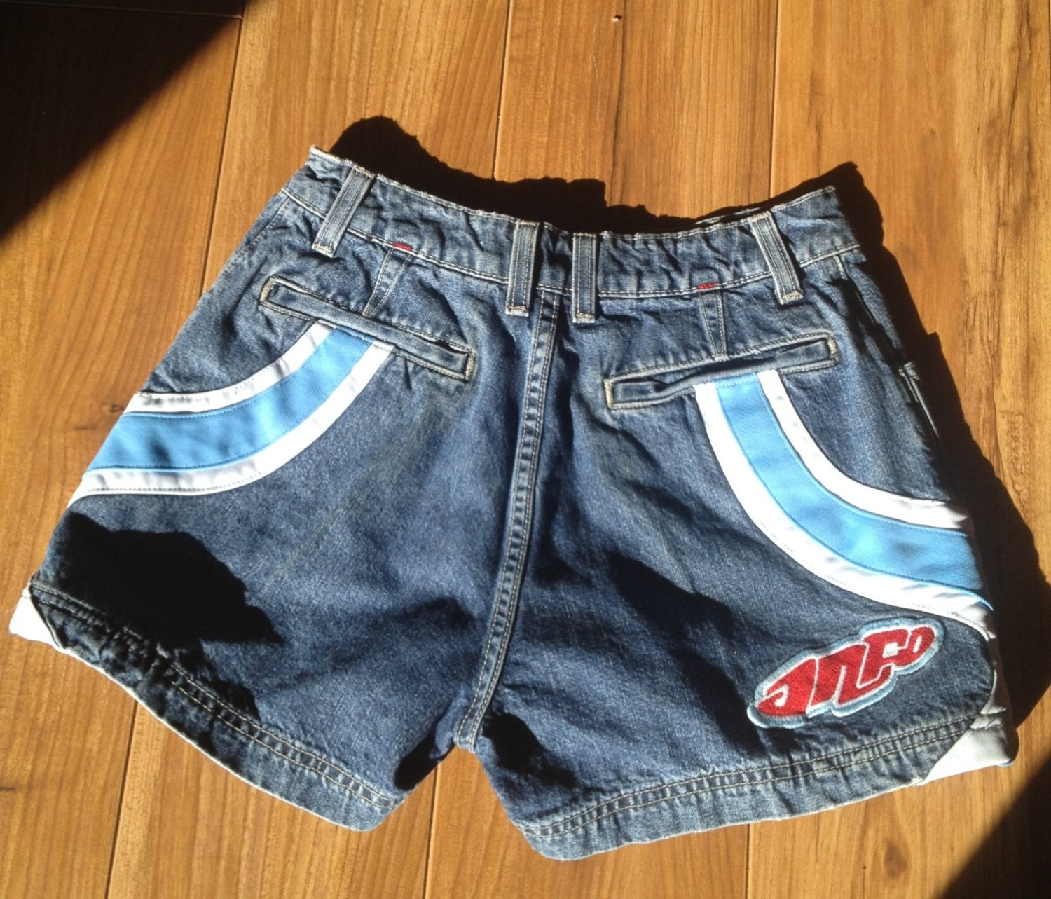 Jnco Jeans Denim Shorts with Wavy Blue and White Detailing