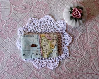 Purse world map plane / boat