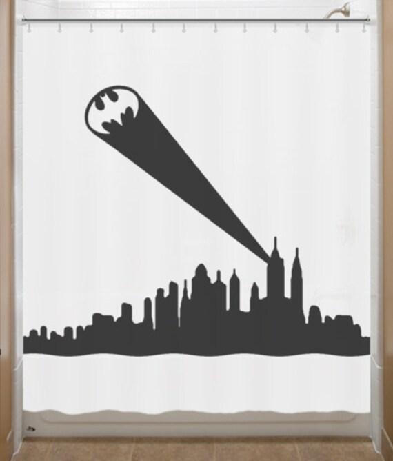 Batman Bathroom Sign: Bat Signal Shower Curtain Kids Bathroom Decor By
