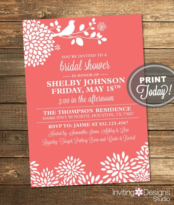 Coral Bridal Shower Invitation, Bird, Floral, Modern, Printable (Custom Order, INSTANT DOWNLOAD)