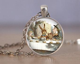 Alice In Wonderland tea party Mad Hatter White Rabbit pendant necklace
