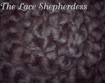 "Hand dyed Coopworth Wool Pin Draft Roving.  7.8 oz.""Chocolate Raspberry"""