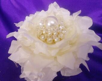 Bridal Hair Flower Fascinator- Ivory Bridal Headpiec-,Ivory Pearl Satin Flower