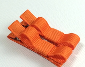 Baby Hair Clips -Orange- Tuxedo Bow Hair Clip Set - Baby, Girl, Toddler, Children