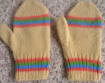 HAND KNIT MITTENS, Vintage hand warmers, hand crafted, great colors