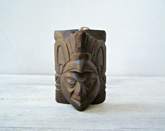 Native American Man Face, Vintage Wood Sculpture Dark Brown, Indian Wall Figurine, Ethnic Wall Decor, Tribal Wall Art, Handcraved Statue