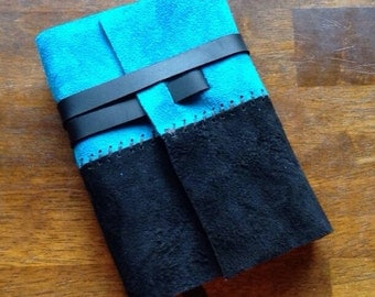 Black & Blue Suede Journal Cover - Sm