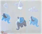 Elephant baby mobile - crib mobile - swan blue and silver gray - nursery decor - MADE TO ORDER
