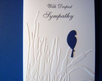 Embossed Cattails and Bird Sympathy Card