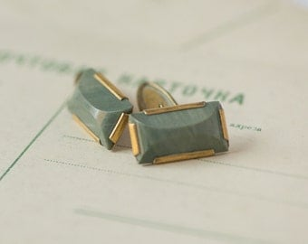 Green stone cuff links, mid century modern accessory, men's cuff links rectangular, gift him cufflinks