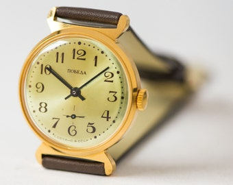 Unused Pobeda watch, gold plated men's watch, men watch modern Soviet, men's accesory watch gift, new premium leather strap