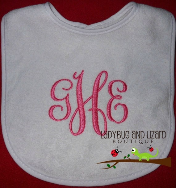 Girl's Monogram White Bib