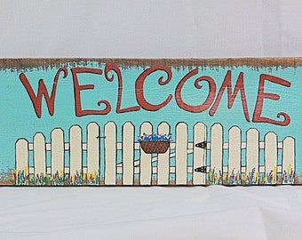 Welcome Sign With Picket Fence Hand Painted On Pallet Wood