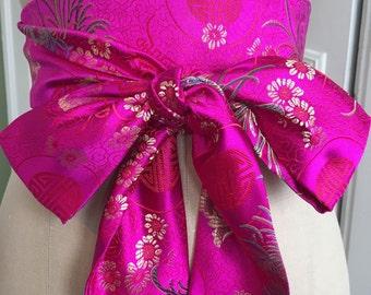Bright pink obi belt, asian brocade obi sash, bridal sash, wedding obi, engagement sash, waist cincher belt