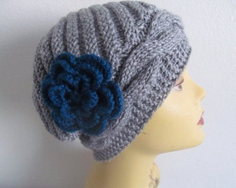 Winter Woman Beanie Hat With Flower