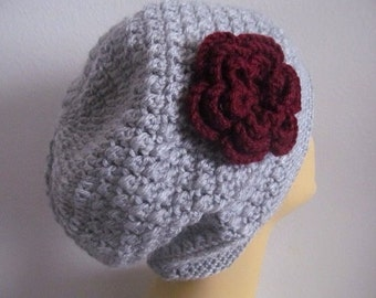 Cotton Gray Slouchy Beanie Hat With Flower, Usa Seller