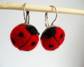 Needle felted Earrings Ladybird, Gift for you, in gift box
