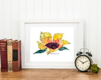 Button Art Sunflower Kansas State Flower Beautiful Shades of Orange, Gold, and Yellow 11x14