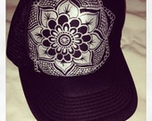 Hand painted black and silver mandala