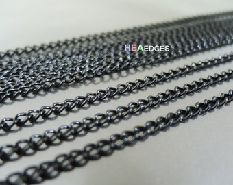 Black Chain - 1 Yard Finding Black Little Curb Chain of Unfinished Link ( 2.5mm )
