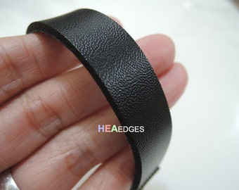 3 Yards of 13mm Black Lace Strap Flat Leather Cord