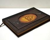 Wooden art, journal sketchbook, alternative book, wooden book, spell book, custom journal, blank page journal, trinity symbol prayer journal