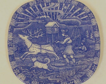 Vintage Rorstrand 1971 Christmas Collectors Plate Gunnar Nylund Julen Cobalt Limited Edition