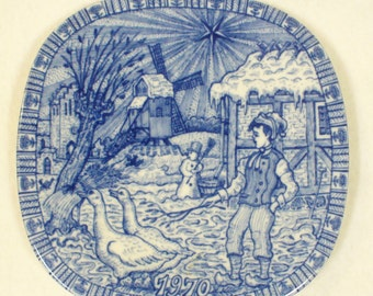 Vintage Rorstrand 1970 Christmas Collectors Plate Gunnar Nylund Julen Cobalt Limited Edition