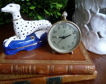 Vintage Clock Jaz French Wind Up Alarm Clock Retro Desk Clock Brass Cottage Decor Desk Accessory Made in France