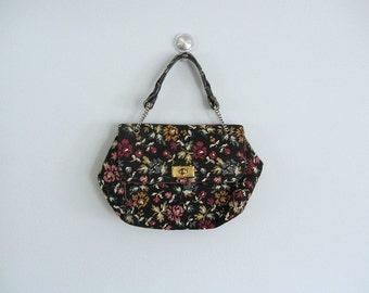 1960s tapestry purse . vintage 60s needlepoint purse