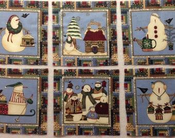 12 Vintage Debbie Mumm Fabric Blocks - Snowmen  - OOP