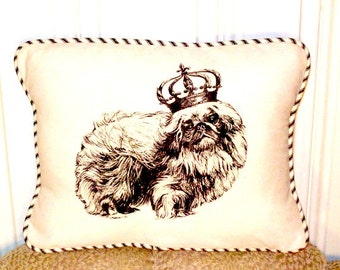 "shabby chic, feed sack, french country, vintage pekingese graphic with ticking stripe  welting 12"" x 16"" pillow sham."
