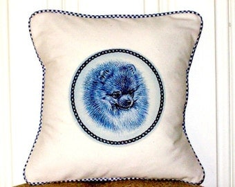 """shabby chic, feed sack, french country, Pomeranian graphic with gingham welting 14"""" x 14"""" pillow sham."""