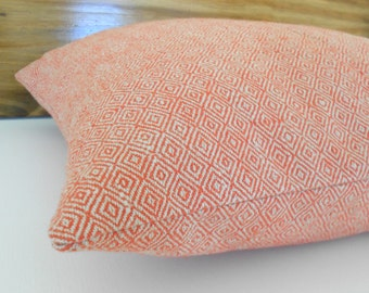 Red orange coral small scale diamond geometric decorative throw pillow cover