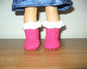 Hand-Crocheted boots shoes for 18 inch american girl dolls - shocking pink, white, black brown or purple with white fake fur trim