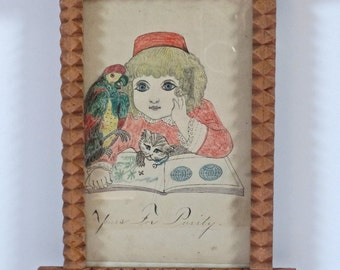 Antique Naive Folk Art Frame with drawing Antique Americana Period Home, Portrait Drawing