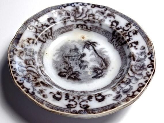 Antique Mulberry Transferware Dish